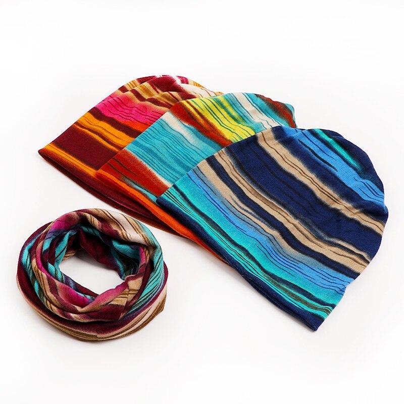 4-Wearing-Way Striped Print Beanie Hat Caps Scarf Women Winter Chemo Beanie Collar Turban Head Wrap Ponytail Cap Autumn