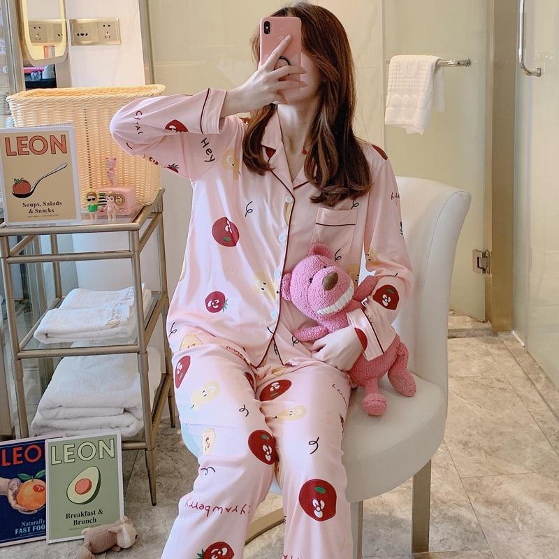 Image 5 - 2020 Women Pajamas Sets with Pants Long Sleeve Turn down Collar Pyjama Print Cute Cartoon Button Top+Pants Pijama Soft HomewearPajama Sets   -