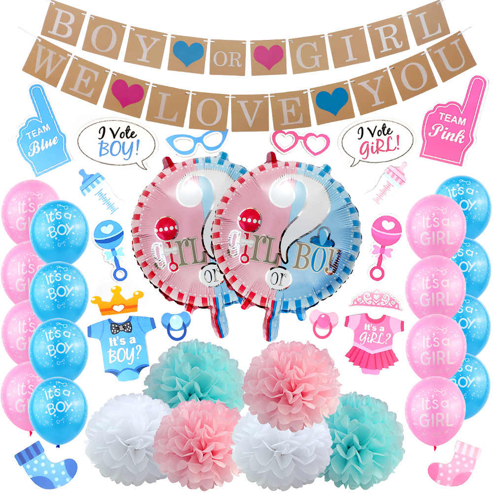 Пол раскрывает посуда девушка или мальчик латексные шары для детей 1-й День рождения украшения дети фото сувениры