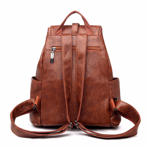 Image 3 - 2019 Women Leather Backpacks High Quality Sac A Dos Female Large Capacity School Backpack Leather Ladies Solid Casual Daypack