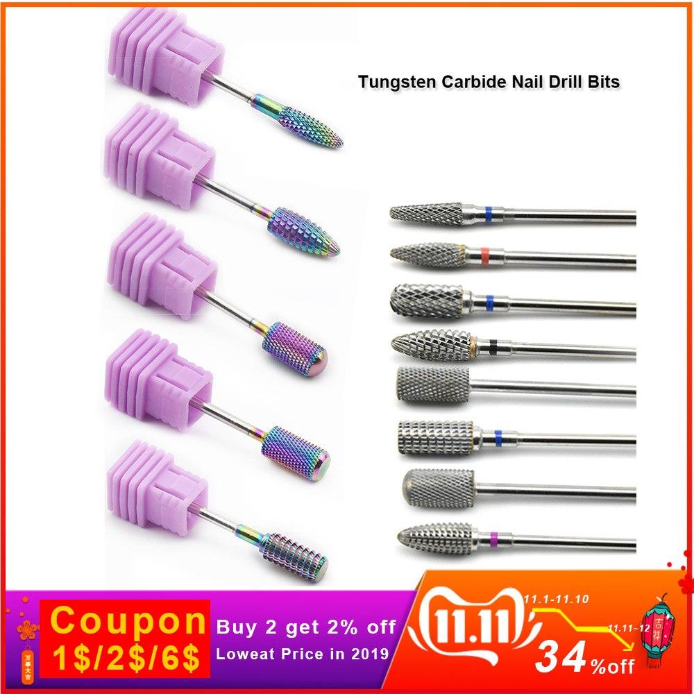 Tungsten Carbide Drill Bits Manicure Machine Accessories 1PC Rotary Burr Electric Nail Bi'ts Manicure Cutter Nail Art Tools