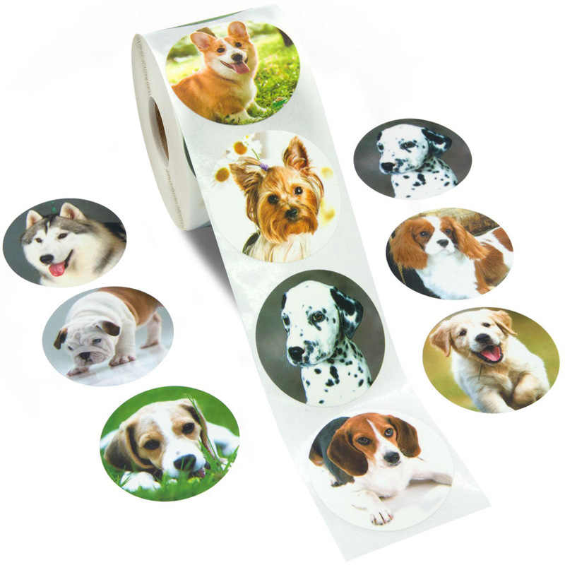 500 Pcs Leuke Dier Hond Stickers Jungle Party Verjaardagscadeau Decoraties Cake Tags Kids Party Speelgoed Persoonlijkheid Label Scrapbook 1in