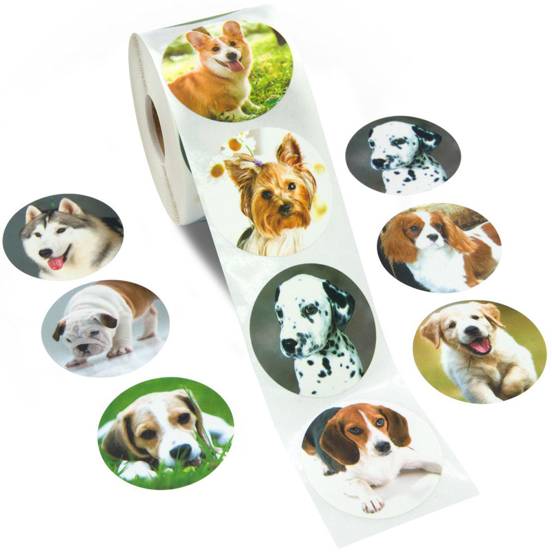 500PCS Cute Animal Dog Stickers Jungle Party Birthday Gift Decorations Cake Tags Kids Party Toys Personality Label Scrapbook 1in