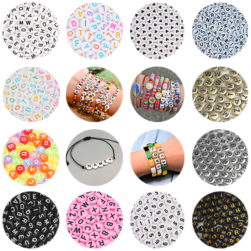 200/300/500PCS Mixed Russian Letter Acrylic Beads Round Flat Alphabet Heart Beads For Jewelry Making Handmade Diy Bracelet(China)