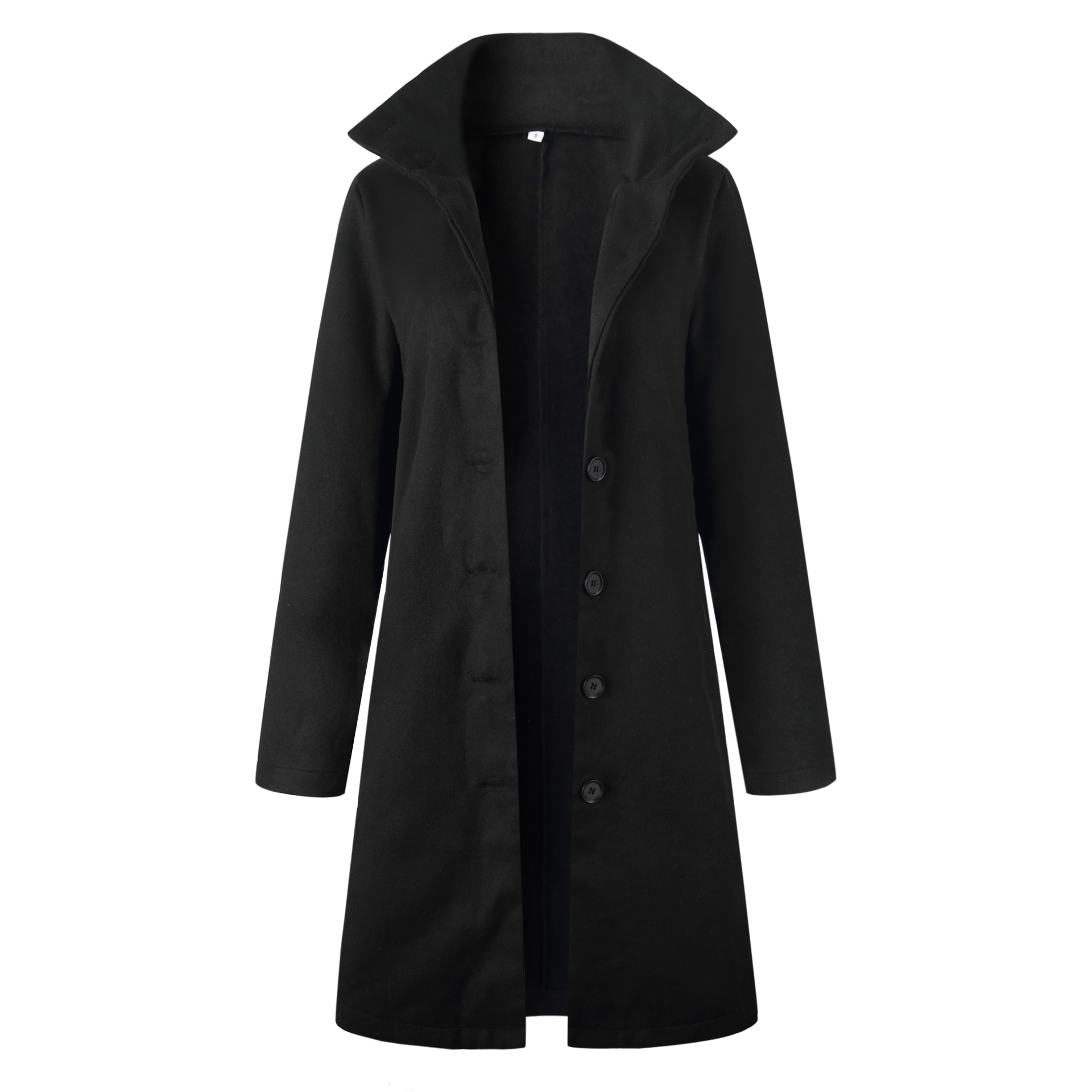 Lugentolo Women Long Coat Wool Autumn Winter Fashion Casual Black White Solid Single-breasted Street Trend Turn-down Collar Coat 7