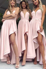 High Low Bridesmaid Dresses Pink Party Gown Deep V-neck Spaghetti Straps Wedding Guests Dress spaghetti strap striped high low dress