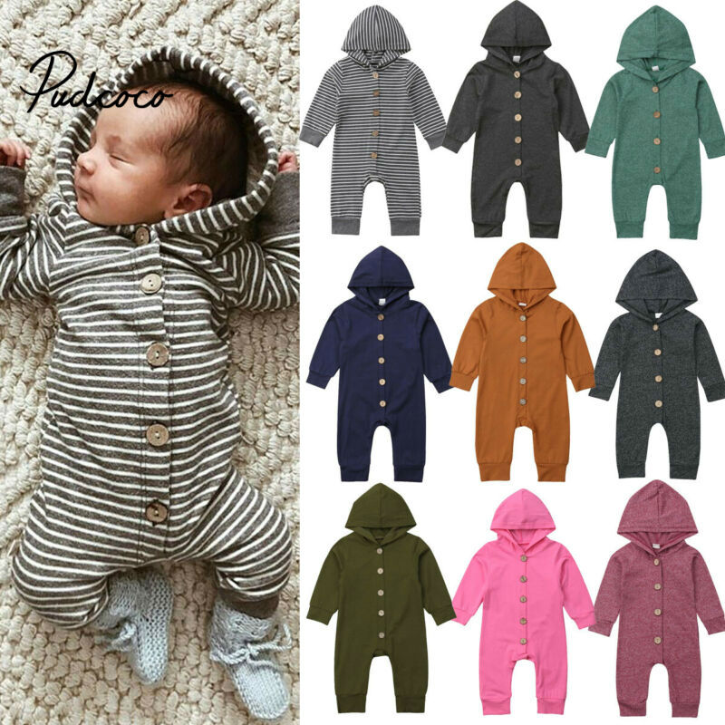 Pudcoco Newborn Baby Boys Girls Unisex Autumn Solid+Striped Rompers Baby Kids Cotton Cute Clothes Romper Hooded Jumpsuit Outfits