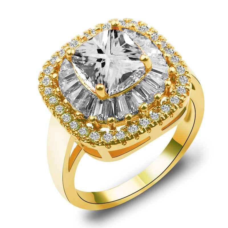 Luksusowa kobieta okrągły pierścionek z palcem moda różowa cyrkonia kamienny pierścień biała biżuteria ze złotym wypełnieniem obietnica obrączki dla kobiet