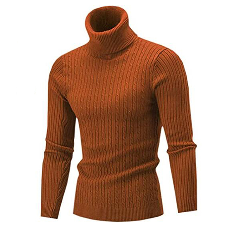 Men's Turtleneck Sweater Autumn Winter Men's Rollneck Warm Knitted Sweater Keep Warm Men Jumper