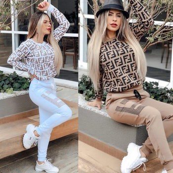Hot selling Women pants two-piece suits big jogging femme sets two piece outfits sweat suits Print Outfits Clubwear Outfits golden shiny strappy two piece outfits