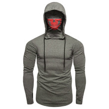 Mens Hoodie Mask Skull Pure Color Pullover Long Sleeve Male Hooded Sweatshirt Tops Blouse L2019