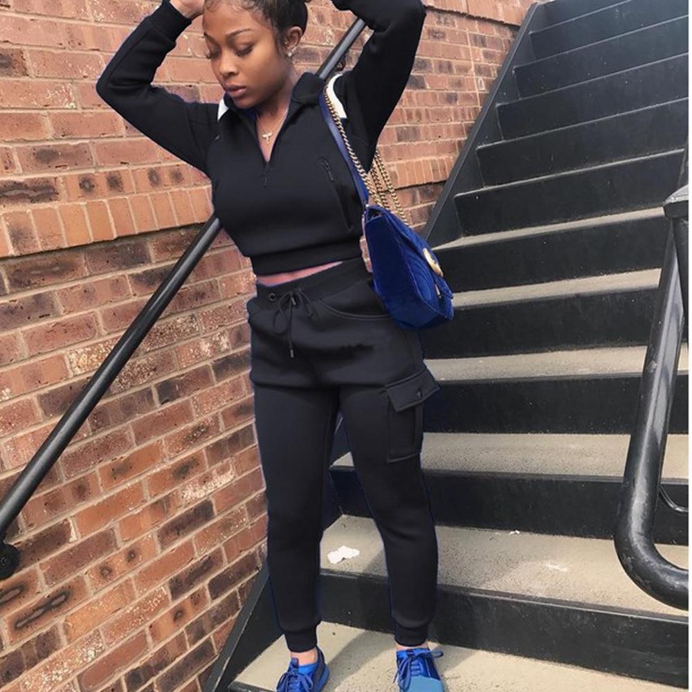 Tracksuit 2pcs Women Set Hoodies Crop Top Sweatshirt+Pocket Pants Hooded 2 Pieces Sets Women Clothing Suits Female