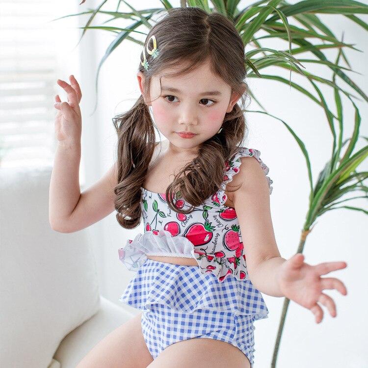 Korean-style Creative Girls'culotte Bathing Suit Soft Skin Split Three-piece Set Swimwear Sweet Cute Tour Bathing Suit