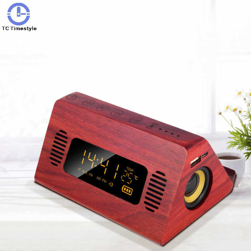 Alarm Clock Speaker Bluetooth Radio FM Digitale di Temperatura Touch Screen Retro Snooze Orologi Da Tavolo di Ricarica Del Telefono Voice Broadcast