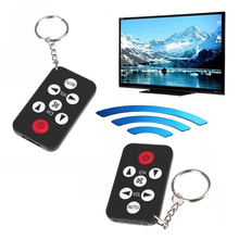 Mini TV Universal Remote Control Square Thin Black Portable Keychaing Keyring TV