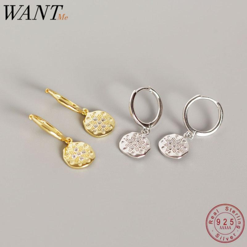 WANTME Luxury Round Baroque Pendant Pentagram Ear Hoop Studs Earrings Real 925 Sterling Silver Minimalist Accessories Jewelry