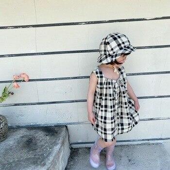 NOVEDAD DE VERANO coreano niñas sombrero vestido traje de niña de celosía de dos piezas sin mangas vestidos infantiles para niñas niño niña ropa de algodón