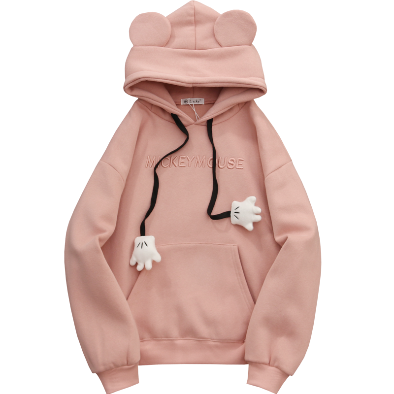 Women's Solid Color Hooded Sweatshirt With Ears On Hood Loose Hoodies 2020 Spring Long Sleeve Sweet Style Girl Pullovers