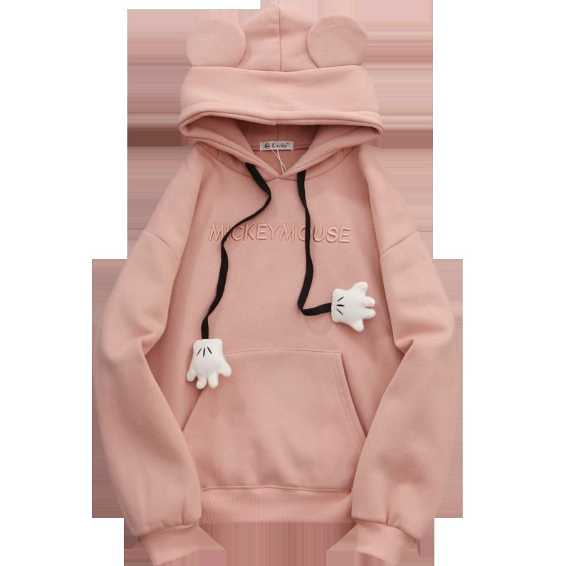 Women's Solid Color Hooded Sweatshirt With Ears On Hood Loose Hoodies 2020 Spring Long Sleeve Sweet Style Girl Pullovers