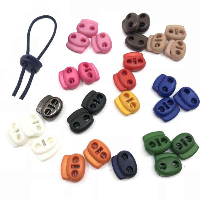 30 pces dois furos plástico rolha cabo de bloqueio apertar primavera cabo final fivelas diy fivela ajustável para roupas esportivas/sapatos/faixa elástica