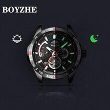 BOYZHE חדש הולו מכאני שעון עם ירח שלב פונקציה עמיד למים זוהר גברים של שעונים אוטומטיים יוקרה מותג