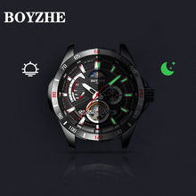 Boyzhe novo relógio mecânico oco com função fase da lua à prova dwaterproof água luminosa relógios automáticos masculinos marca de luxo