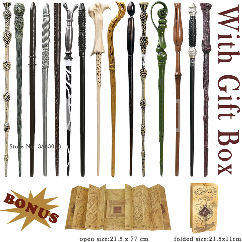 Cosplay Potter Magic Wands Dobby Hermione Dumbledore Magic Wands with Harried Marauder's Map and Ribbon Gift Box Christmas Gift