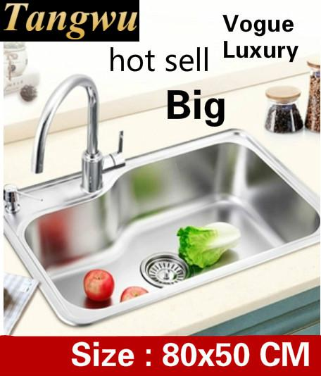 Free Shipping Apartment High Quality Wash Vegetables Kitchen Single Trough Sink 304 Stainless Steel Big 80x50 CM