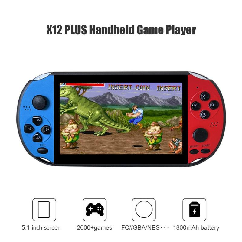 X12PLUS 5.1inch 8GB Handheld Game Console Portable Retro Console Built-in 2000 Games Video Game Player for Children Adults Gift
