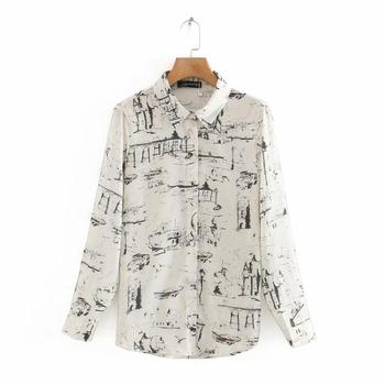 New 2020 Women Fashion Ink Painting Print Casual Smock Blouse Office Ladies Long Sleeve Business Shirts Chic Blusas Tops LS6610