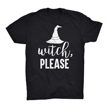Halloween T Shirt Top Witch Please Blood Hat Horror Trick Or Treat 31 October Short Sleeve Plus Size t-shirtPrint Print t-shirt(China)