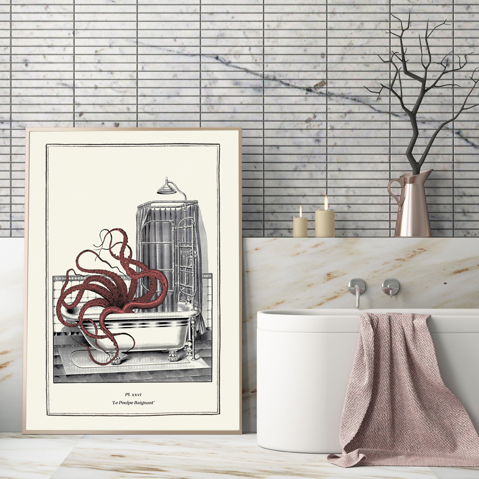 Vintage Octopus Print Funny Toilet Wall Art Cloakroom Poster Retro Gothic Steampunk Bathroom Wall Pictures Canvas Painting Decor in Painting Calligraphy from Home Garden