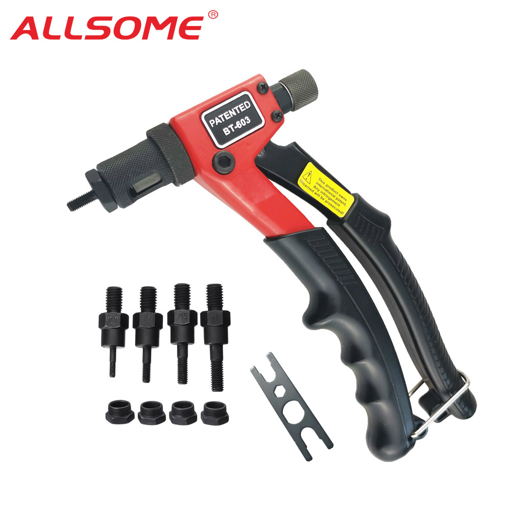 ALLSOME BT-603 Manual Riveter Gun Hand Rivet Tool Kit Rivet Nut Setting Tool Nut Setter M3 M4 M5 M6
