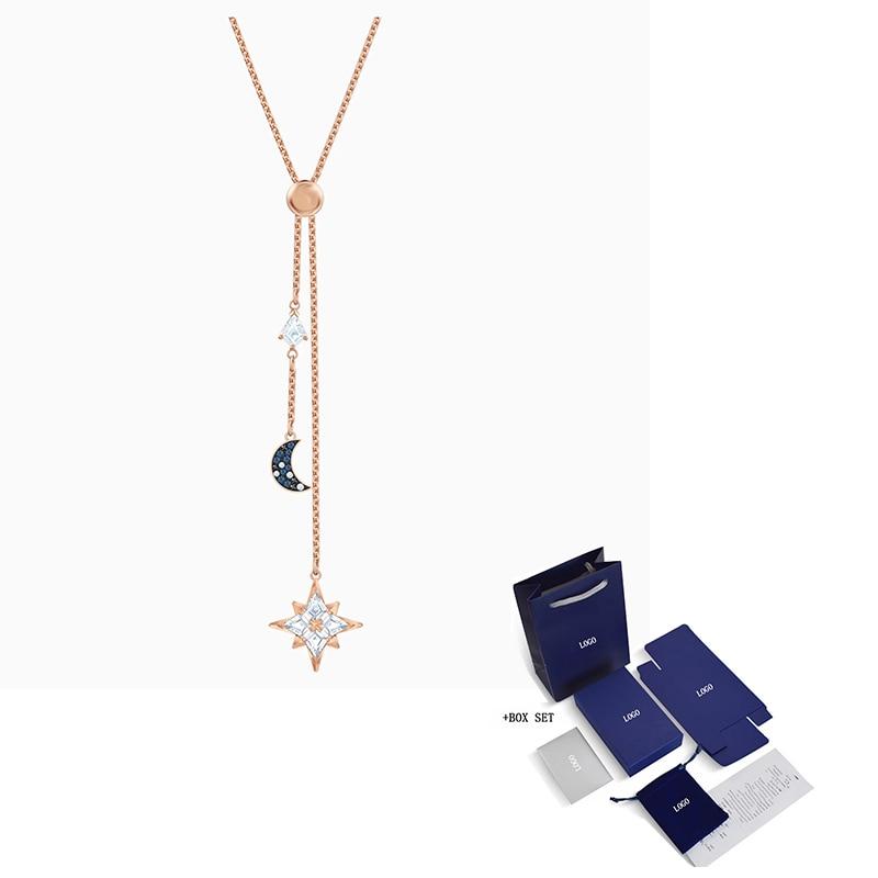 2020 Fashion Jewelry SWA New YMBOLIC Y-Shaped Necklace Moon Star Decoration Elegant Romantic Jewelry Engagement Birthday Gift