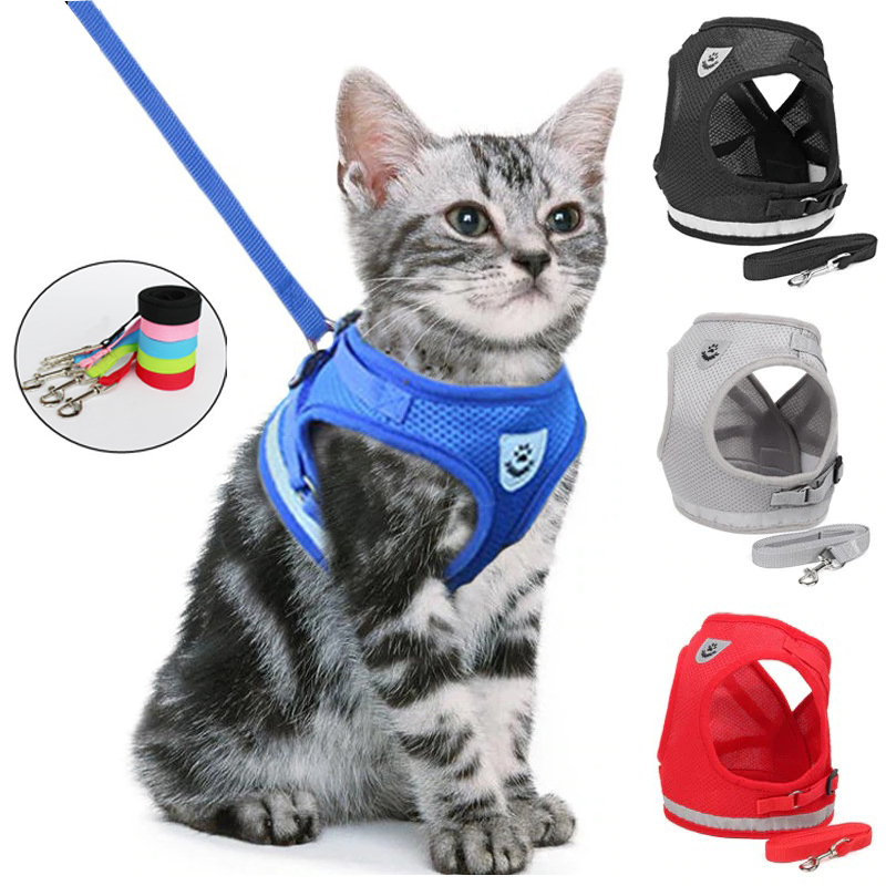 Mewoofun Cat Dog Adjustable Harness Leash Breathable Kitten Cats Small Dog Puppy Nylon Mesh Vest Walking Lead Clothes For Pets 1