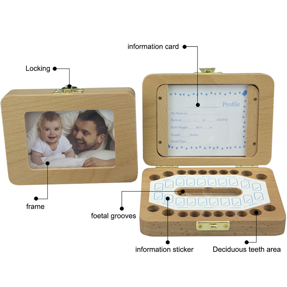 Newborn Simple Style Wooden Children's Photo Frame Deciduous Tooth Preservation Box Baby Teeth Collection Growth Memorial Box