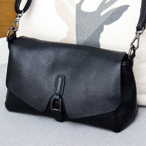 Bolsa de Couro Genuíno para Mulheres de Luxo do Vintage Bolsa de Ombro de Couro Sunny Shop Macio Casual Crossbody Pequeno Compartimento Múltiplo