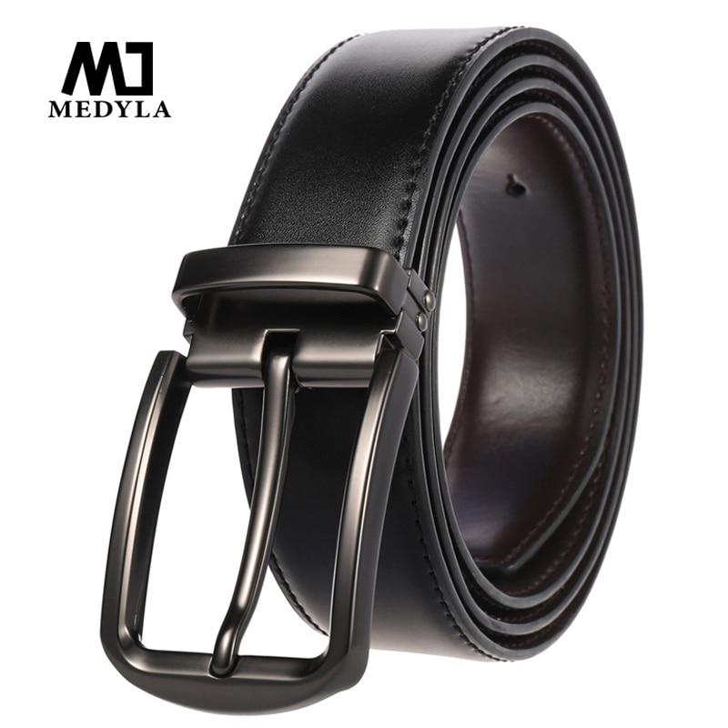 Medyla Cowhide Reversible Belts Men Pin Rotated Buckle Jeans Waist Belt Male Two Sides Belt Business Strap Casual Cummerband