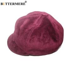 BUTTERMERE Purple Suede Leather Newsboy Cap Ladies Autumn Winter Hats for Women Vintage Genuine Beret Female Painter Hat