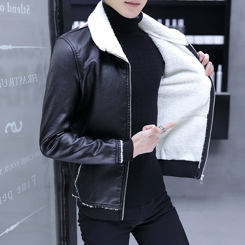 Men Jackets Pu Fur Brushed And Thick Korean-style Lamb Fur Collar Coat Winter Leather Coat Fashion