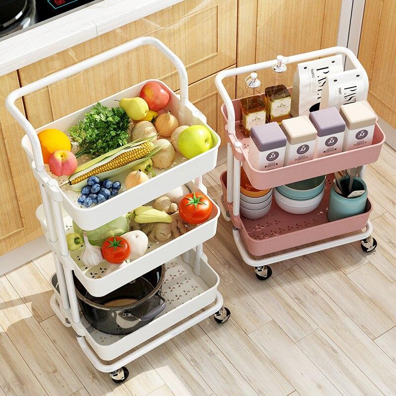 Rolling carrinho de armazenamento rack prateleira com malha cesta/alças/rodas organizador para cozinha casa lavanderia banheiro escritório