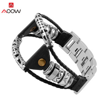 Braided Leather Bangle Strap for Samsung Galaxy Watch3 45mm 46mm Gear S3 Huawei GT 2 Stainless Steel Link Replacement Watch Band