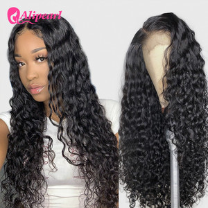Water Wave 4x4 Closure Wig For Black Women Peruvian Wig Lace Front Closure Human Hair Wigs Pre Plucked AliPearl Hair Lace Wigs(China)