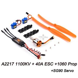 A2217 2217 1100KV / 1250KV / 2300KV Brushless Motor + 40A ESC + SG90 Servo + 6040/8060/1060 Prop for RC High Speed Fixing Wing(China)