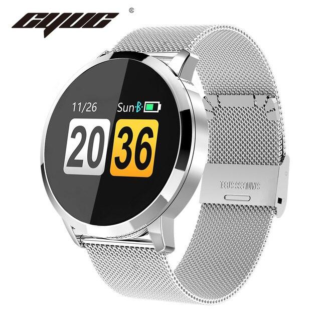 CYUC Q8 ساعة ذكية OLED شاشة ملونة الرجال موضة جهاز تعقب للياقة البدنية مراقب معدل ضربات القلب ضغط الدم الأكسجين عداد الخطى Smartwatch