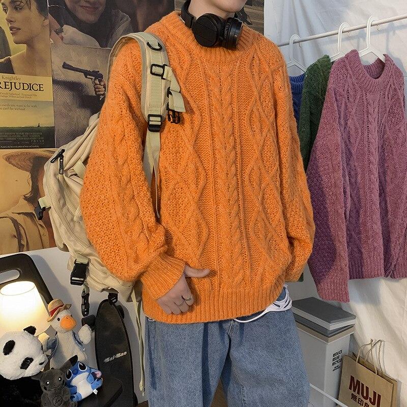 Hommes chandails 2021 automne hiver chaud mode hommes pulls Fit tricoté décontracté ample coréen à la mode Streetwear mâle solide chandail