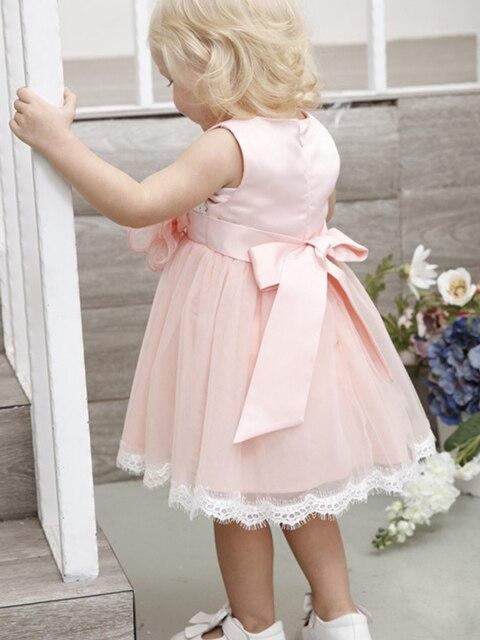 короткое розовое платье с цветочным узором для девочек на свадьбу фотография