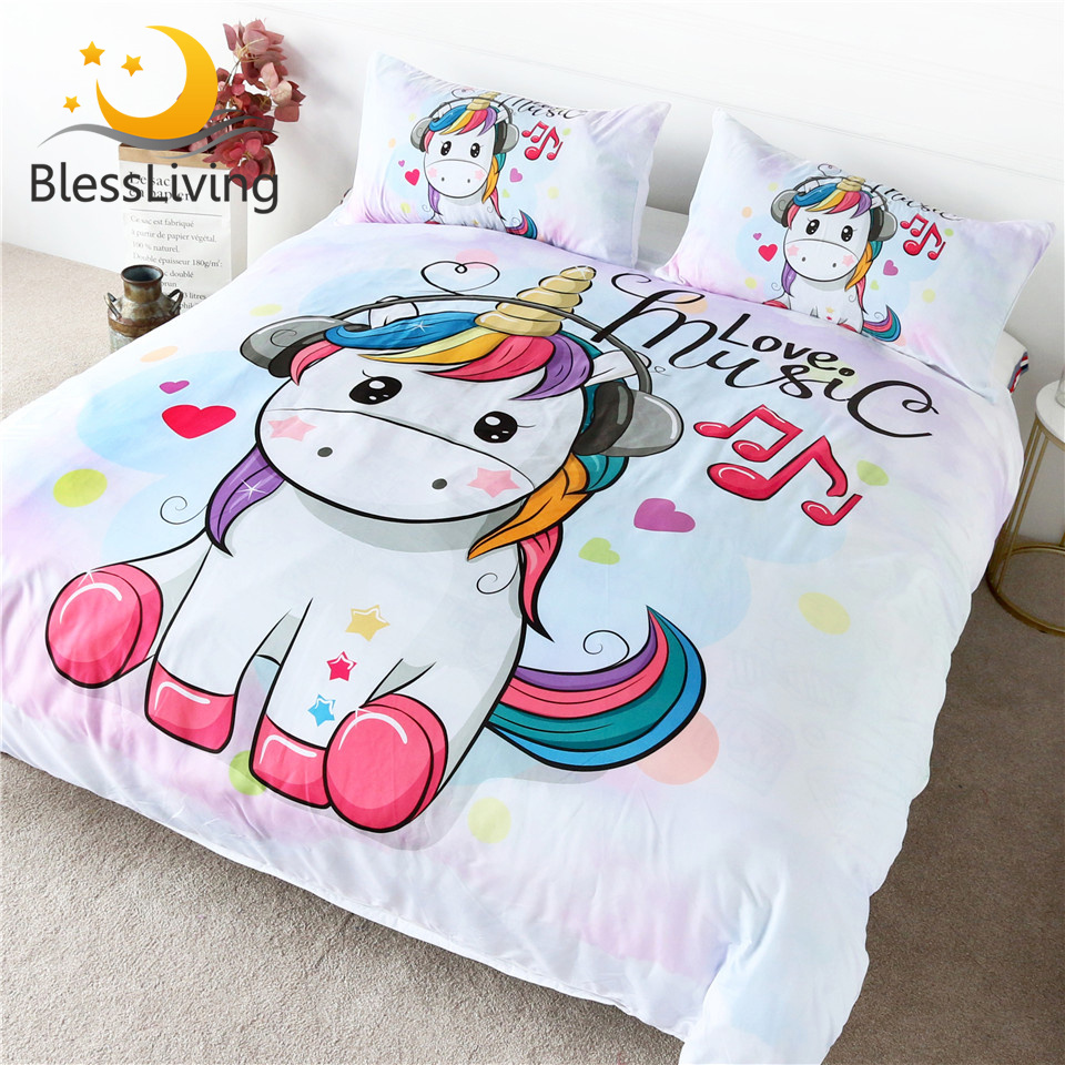 BlessLiving Cute Unicorn Bedding Set Rainbow Hair Duvet Cover Love Music Kids Cartoon Bedspread Colorful Hearts Stars Bed Set