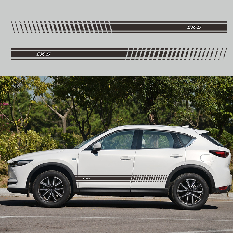 2pcs Car Auto Vinyl Decal <font><b>Sticker</b></font> FOR <font><b>MAZDA</b></font> CX5 CX-<font><b>5</b></font> Car <font><b>Stickers</b></font> Side Body Stripes Racing Styling image