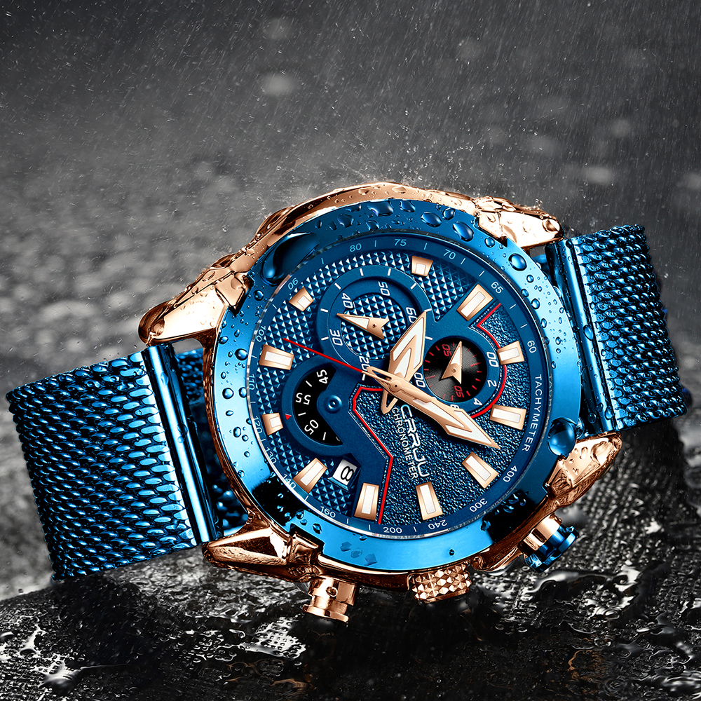 Crrju Mens Watches Top Brand Luxury Quartz Men Watch Mesh Belt Luxury Waterproof Sport Watch Men Male Clock Man Wristwatch